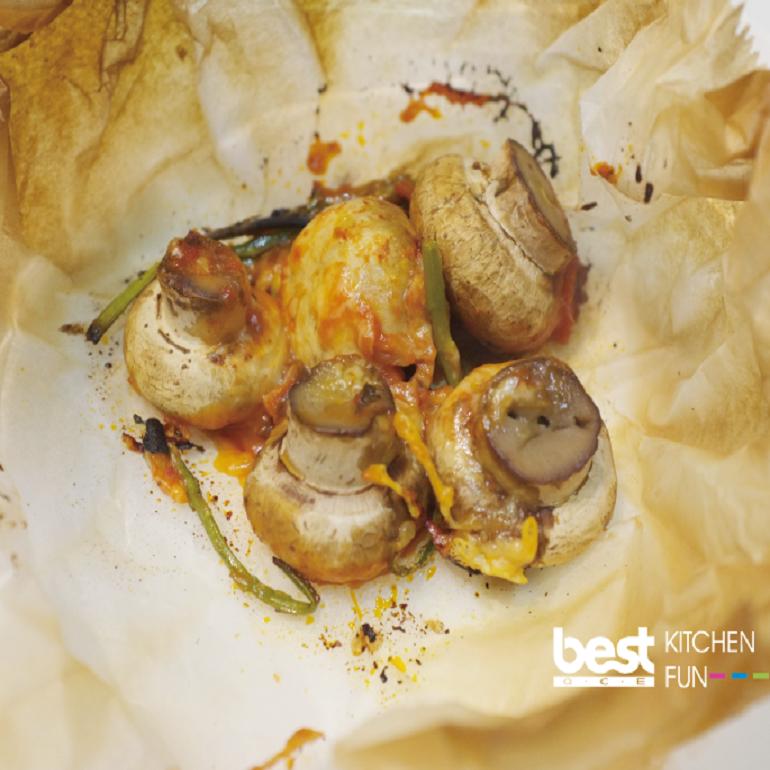 紙包料理-起司烤蘑菇