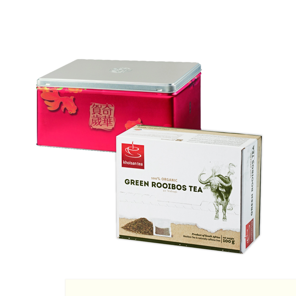 奇華原味家鄉蛋捲(賀年版)+有機經典博士綠茶家庭款組合